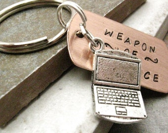 LAPTOP Keychain, Weapon of Choice, Computer Nerd gift, Coder gift, programmer gift, optional personalized initial disc, see all pics