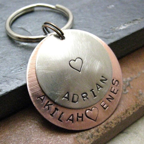 Personalized Keychain, 2 Layers, 8 Metal Options, Option 1 pictured, gifts under 20, personalized keyring, customized keychain