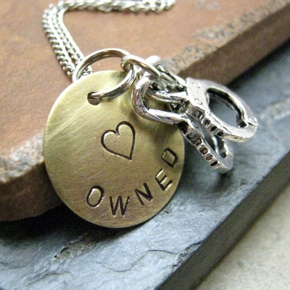 Owned Stamped Metal Handcuff Necklace, BDSM necklace, brass disc, silver plated chain, choose your own metal, BDSM inspired, BESTSELLER