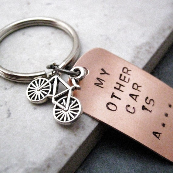 My Other Car is a Bike Keychain, optional initial disc holds 4 characters, biking keychain, cyclist keychain, cycling gift, biker gift