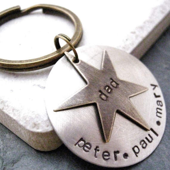 Personalized Brass Star Silver key chain, request customization in notes to seller, other shapes available, see shop