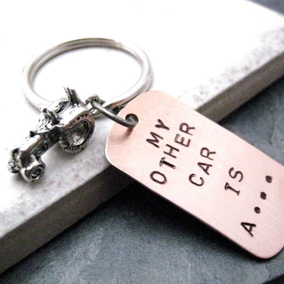 My Other Car is a Tractor Keychain, Farmer Keychain, Farmer gift, Gift for Farmer, optional initial disc, see all pics