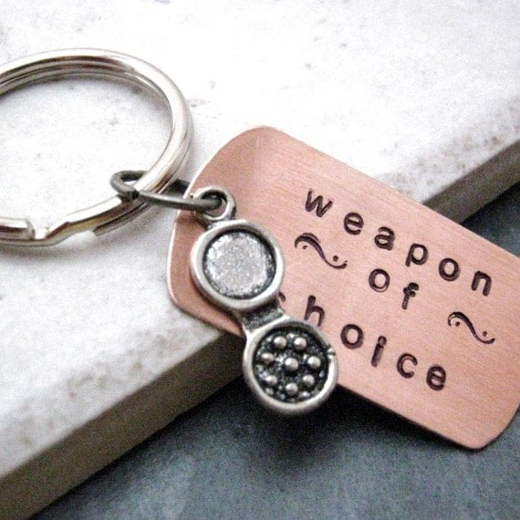 BIRTH CONTROL PILLS Weapon of Choice Stamped Keychain, feminist, feminism, optional personalized initial disc