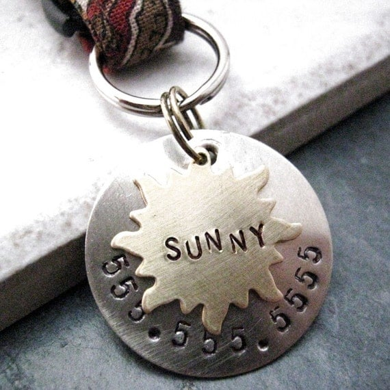 Brass Sun 2 Layer Pet ID Tag, bottom layer nickel silver, split ring included, customized by you
