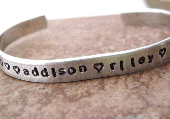 Personalized Bracelet, Mother's Aluminum Cuff, great gift for grandma too, children's names, pets names, custom quote, BEST SELLER