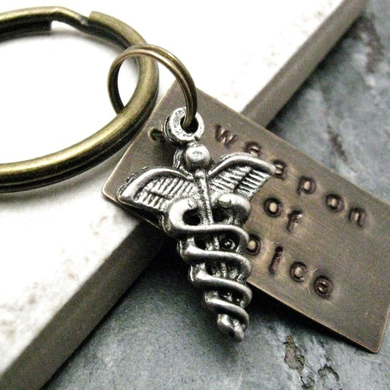 MEDICAL Caduceus Weapon of Choice Stamped Keychain, antique brass base, alt charms available, see picture