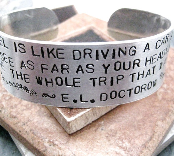 Writers Bracelet, approx 1 inch wide, aluminum cuff, customizable up to 35 words, author gift, please read listing, unisex cuff, writing