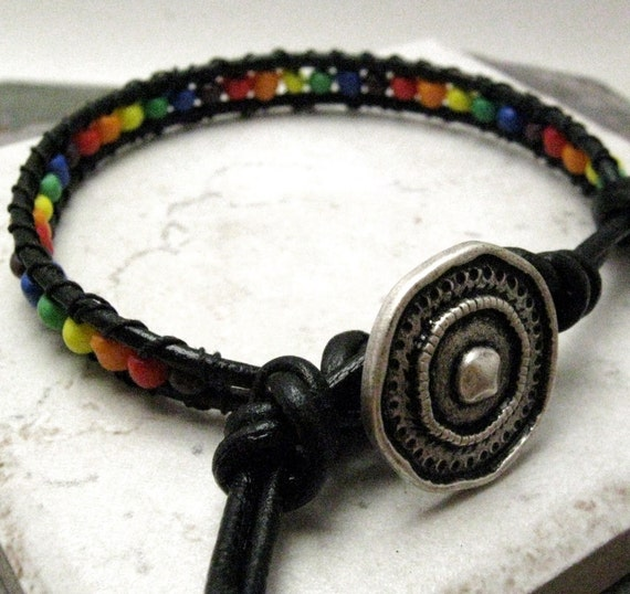 Rainbow Single Wrap Beaded Leather Bracelet, gunmetal button for clasp, lgbt, gay pride,READY TO SHIP, please read listing