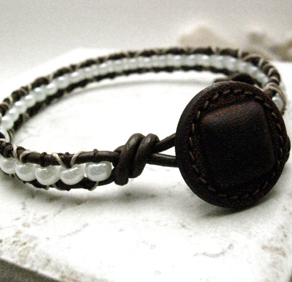 SALE Thin Mint Single Wrap Beaded Leather Bracelet, ready to ship as is, please read listing