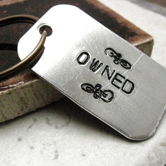 Owned Keychain, BDSM keychain, fetish keychain, slave keychain, gift for slave, sub keychain, optional personalized initial disc