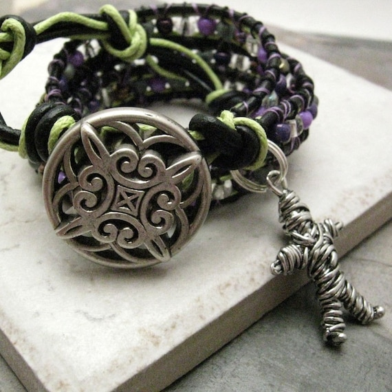 SALE Double Wrap Beaded Leather Bracelet, Black Magic, voo doo doll charm, ready to ship as is, please read listing