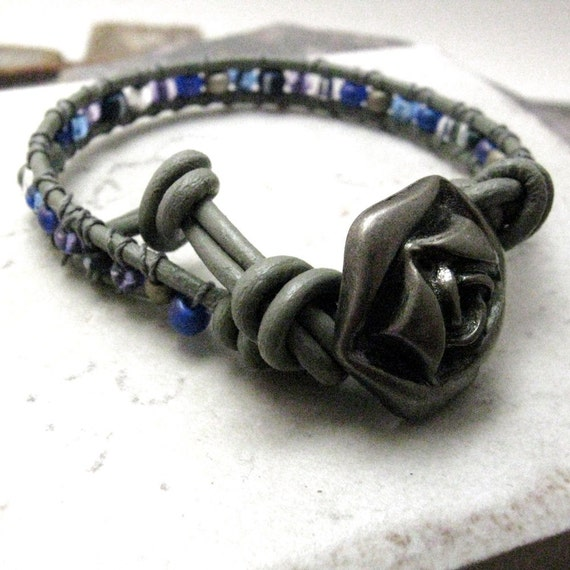 SALE I'm So Blue Single Wrap Beaded Leather Bracelet, gunmetal rose button, ready to ship and sold as is, please read listing