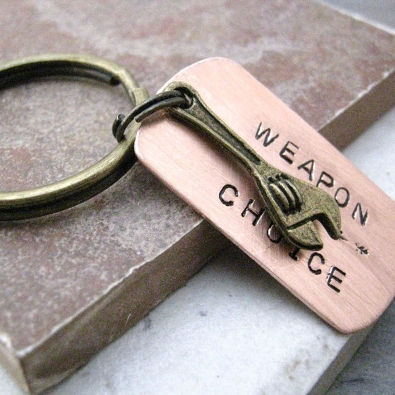 WRENCH Keychain, Weapon of Choice, tool keychain, mechanic gift, gifts for him, gifts for dad, optional initial disc, see all pics