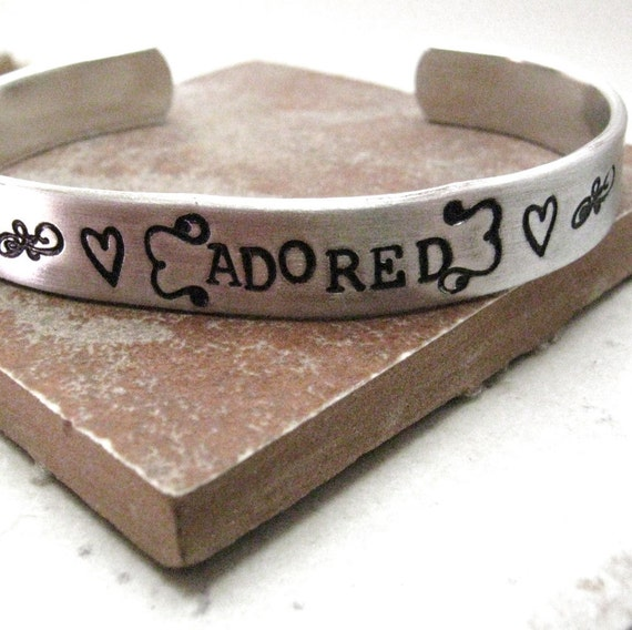 Adored Bracelet, custom aluminum cuff approx 3/8 inch wide, customizable, MADE TO ORDER, valentine gift, double siding available