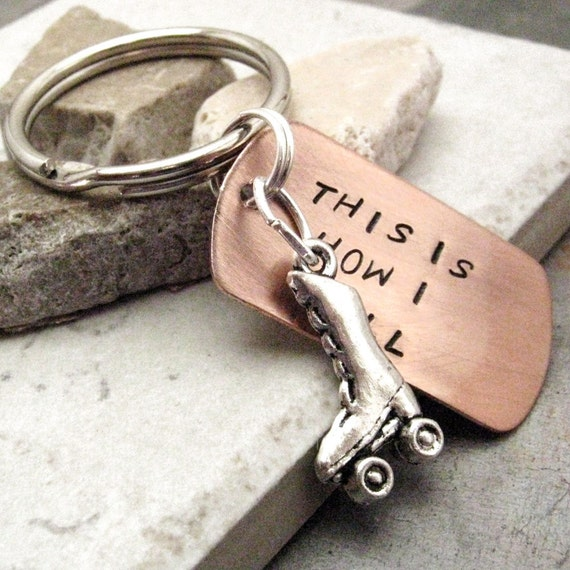 This is How I Roll Keychain, roller skate charm, roller derby keychain, roller derby girl, optional initial disc, roller derby team