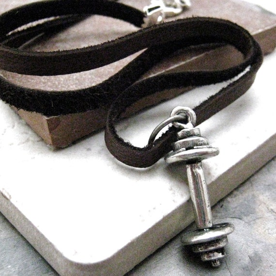 BARBELL Charm Necklace, leather cord, choose your length, black or brown cord available, fitness, exercise, gym, best seller