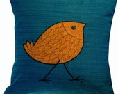 Outdoor/Indoor Decorative Pillow cover with Orange Bird 16 inches