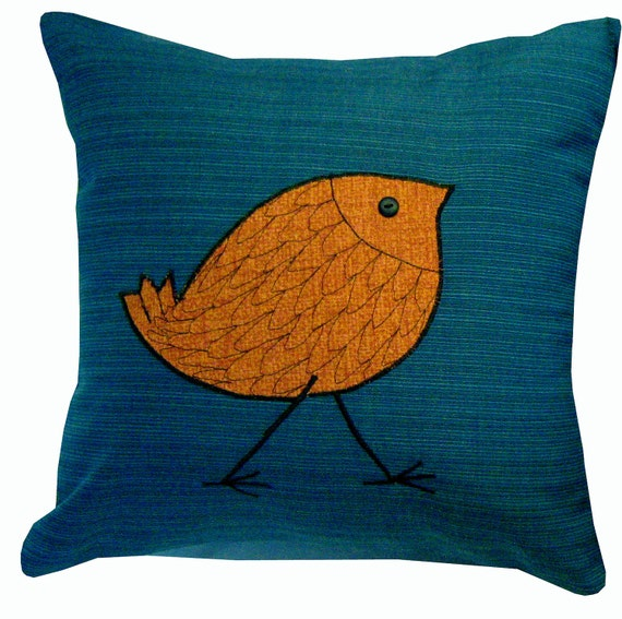 Outdoor Throw Pillows Birds : Outdoor/Indoor Decorative Pillow cover with Orange Bird 16