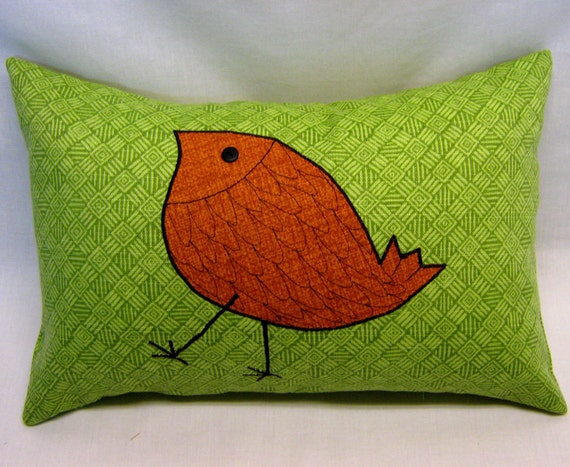 "Outdoor Pillow Cover 12"" x 18"" from green sun and shade fabric with orange bird."