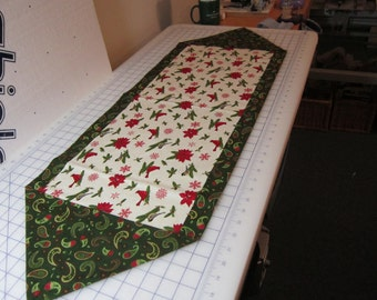 Reduced price....Winter Bird and paisley table runner