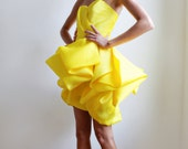 Blake--Canary Satin Faced Silk Organza Wedding/Reception/Special Occasion Dress