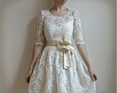 Ellie--2 Piece, Lace and Cotton Wedding Dress - Leanimal