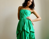 Charline -Emerald Green silk gown --One of a Kind--Sample Sale