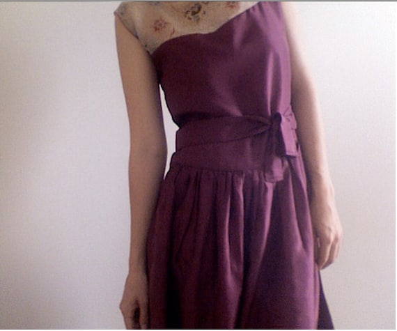 Price Reduced--Taneille--Burgundy Silk Dress with Printed Silk Chiffon Top--SALE