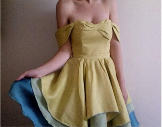 Annabelle--Citron/Green/Blue Linen and Silk Dress