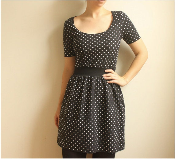 Francine--Black and White Polka Dot Dress  with Cinched Waist--Super Sale