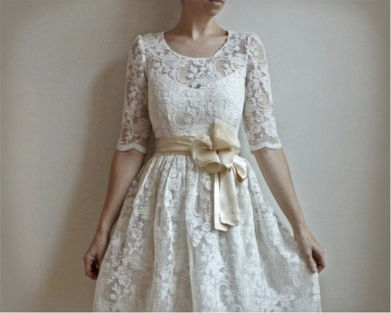 Ellie--2 Piece, Lace and Cotton Wedding Dress--Etsy Exclusive--SUPER SALE