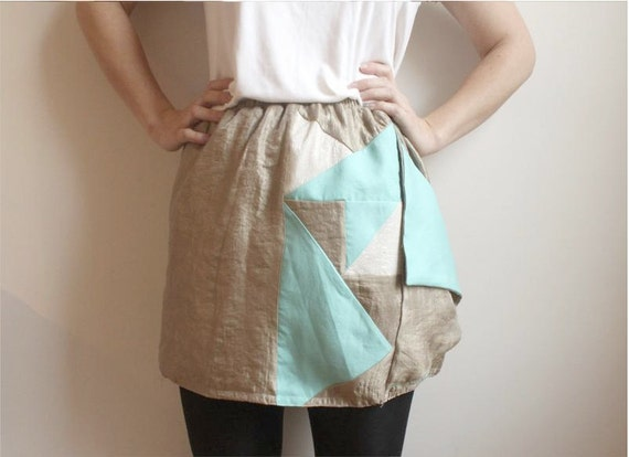 Heidi- Gold skirt with Sea Foam and Ivory Patchwork Pattern--Sale