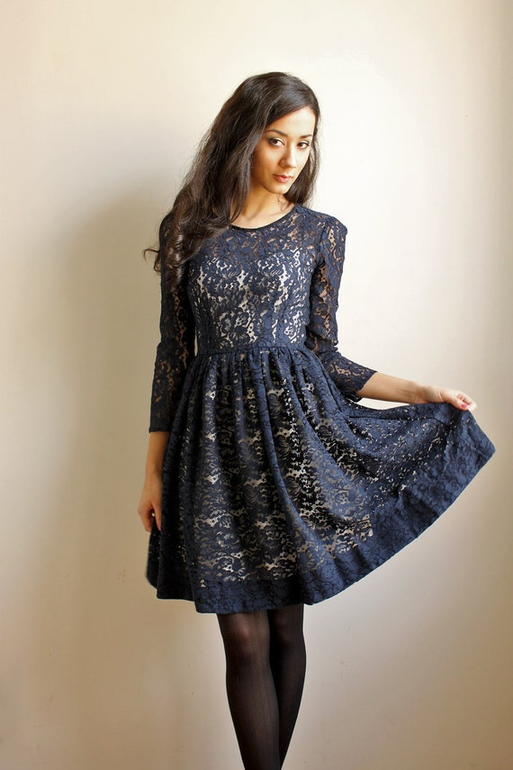 Jeannette Navy Blue Cotton Dress -SAMPLE SALE