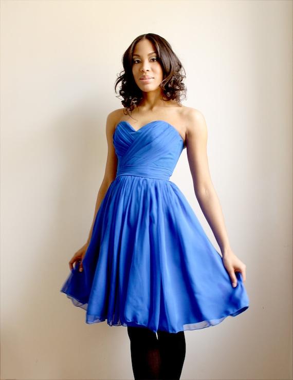 Gracelynn- royal blue silk chiffon dress -sample sale