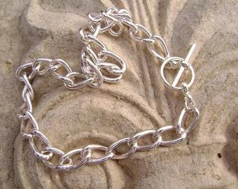 BULK Bracelet Base for Charm Bracelets, Chain, Silver ptd Steel, Toggle Clasp, 8-inch, 5Qty