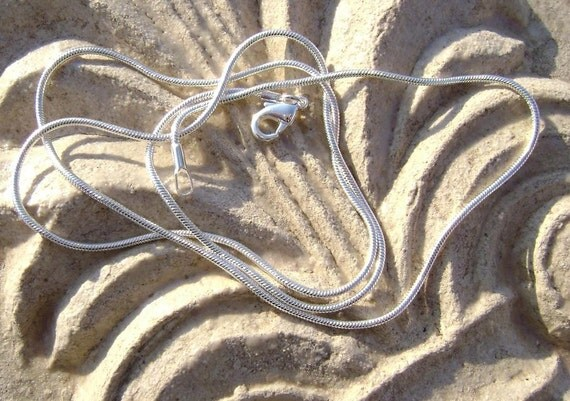 BULK - 10 - Sterling Silver Plated Yellow Brass Snake Chain Necklace For Your Pendant, 24in