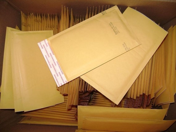 100 Qty - 4in x 8in Kraft Bubble Mailer Size 000 Padded Bubble Mailing Envelopes, shipping to 48 USA states only.