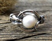 Free Floating Kinetic Pearl Ring .. 8mm freshwater pearl sterling gemstone ring statement ring