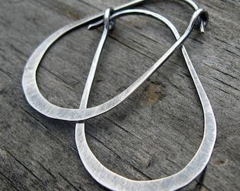 Gunnysack Hoops - oxidized stelring silver oblong hoops