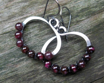 Cranberry garnet sterling silver hoop dangle earrings