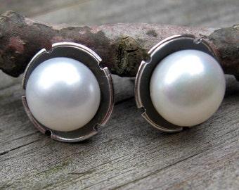 Fresh water pearl sterling flower stud earrings / large