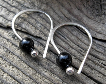 Black Onyx Open Hoop sterling silver earrings onyx earring