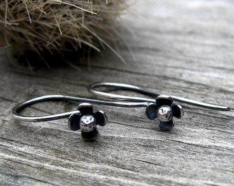Organic Bloom Dangles ... petite sterling silver minimalist flower earrings
