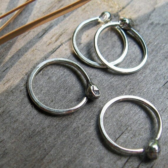 Tiny budded sterling silver hoops set of 4
