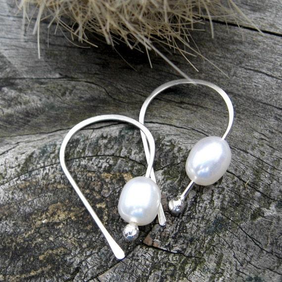 Pearl Open Hoop sterling silver earrings pearl earrings