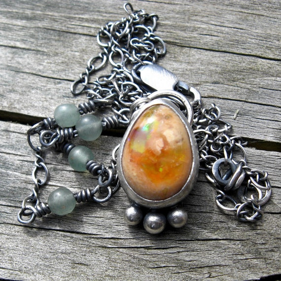 Mexican Jelly Opal Sea Foam Green Adventurine Necklace ... Ready to ship