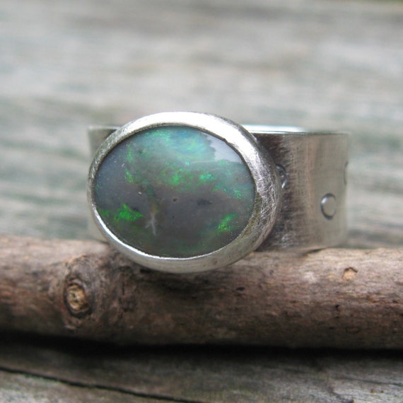SALE ... Australian Gray Opal Circle Stamped 8mm Wide Sterling Silver Ring ... opal ring