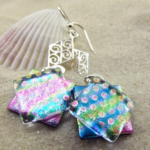Exotic Fantasy Dichroic Earrings
