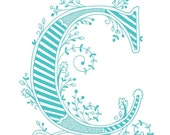 Hand drawn monogrammed print, 8x10, the Letter C, in the color blue