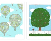 Two prints, Hot Air Balloons and Owl Tree